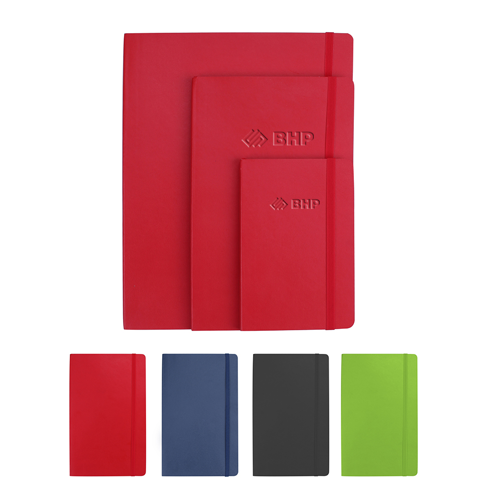 QNOTE Soft PU Leatherette Notebook With Pocket - Large