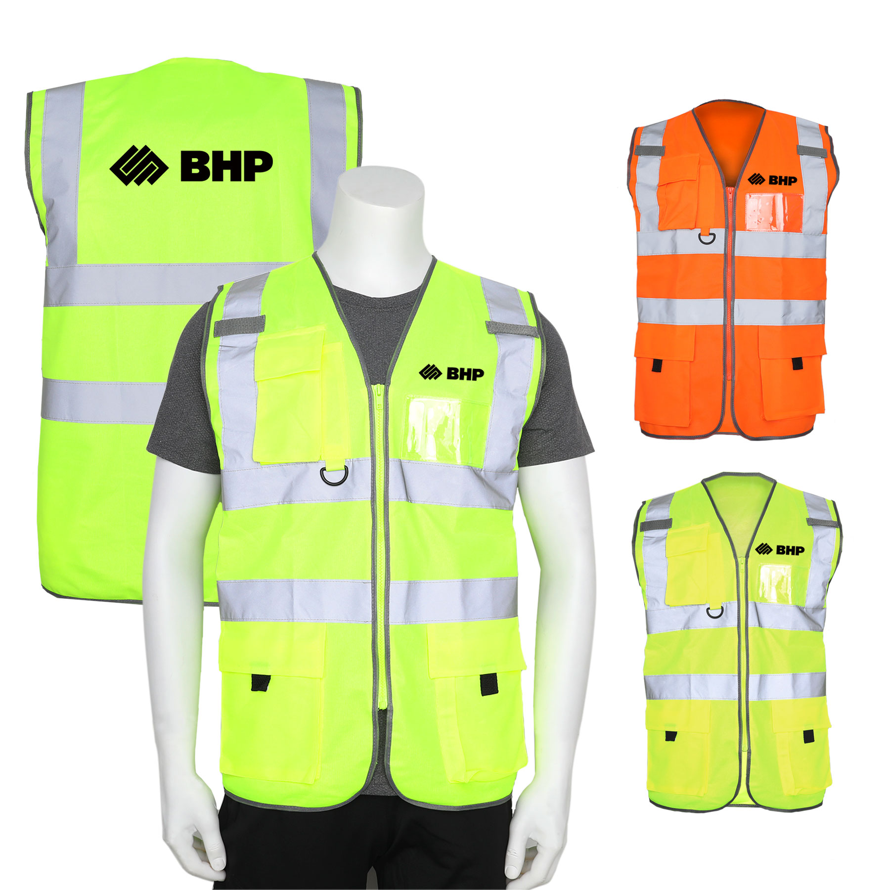 Hi-Vis Reflective Safety Vest w/Pockets