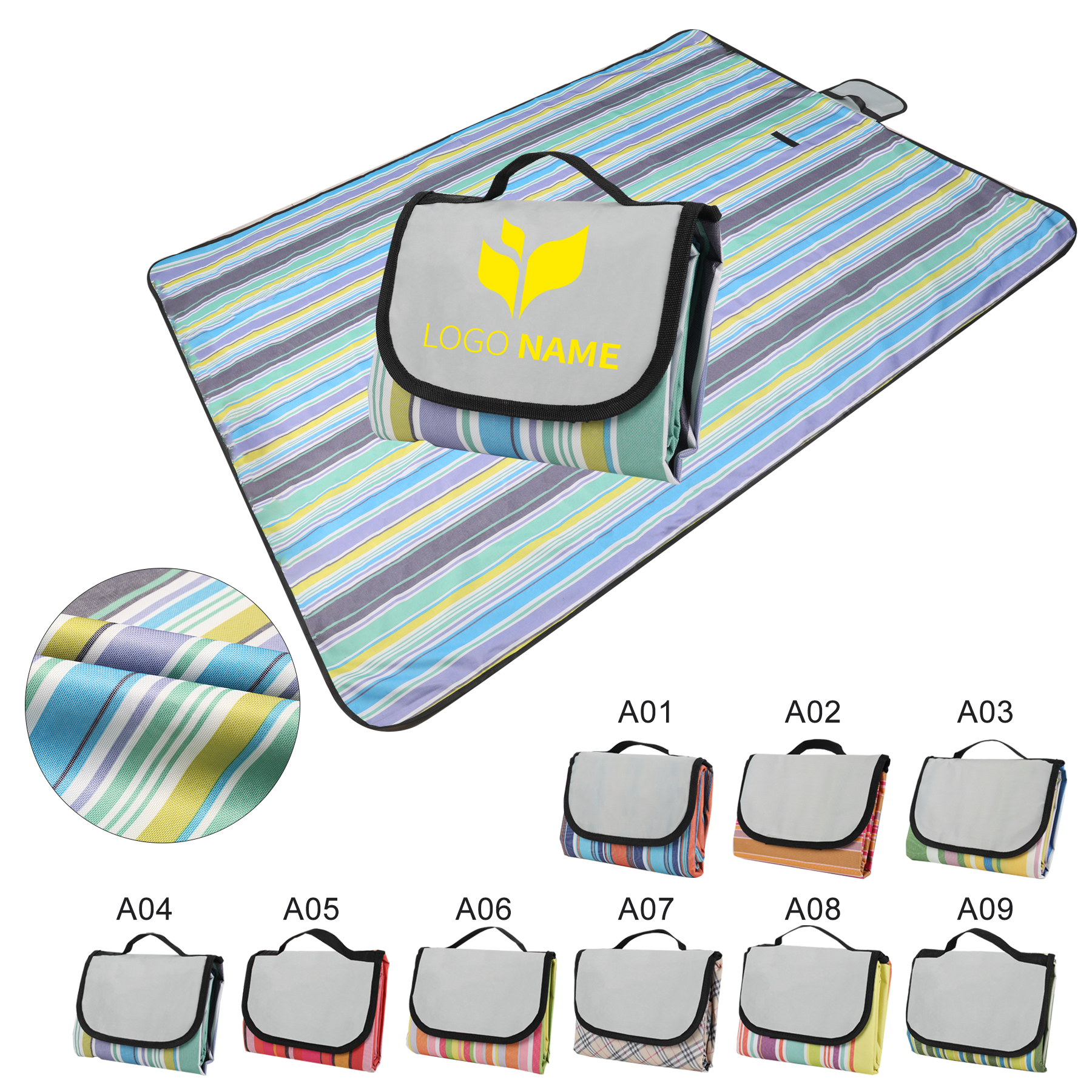 "58"" x 78.8"" Foldable Striped Picnic Blanket"