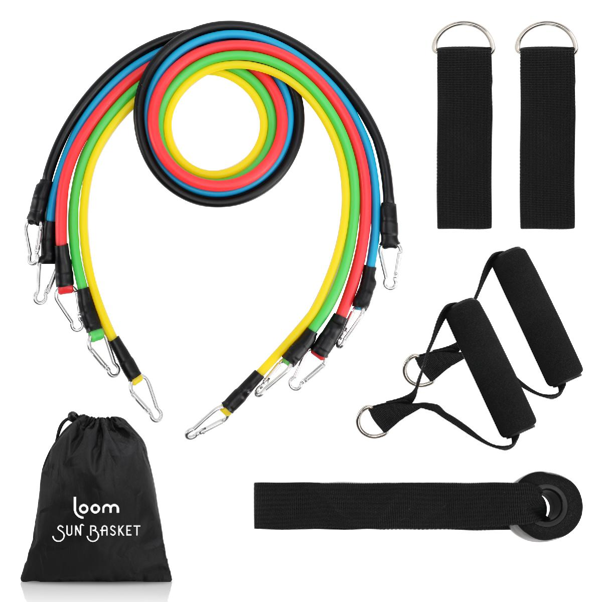 11pcs Resistance Band Set with Custom Logo Pouch