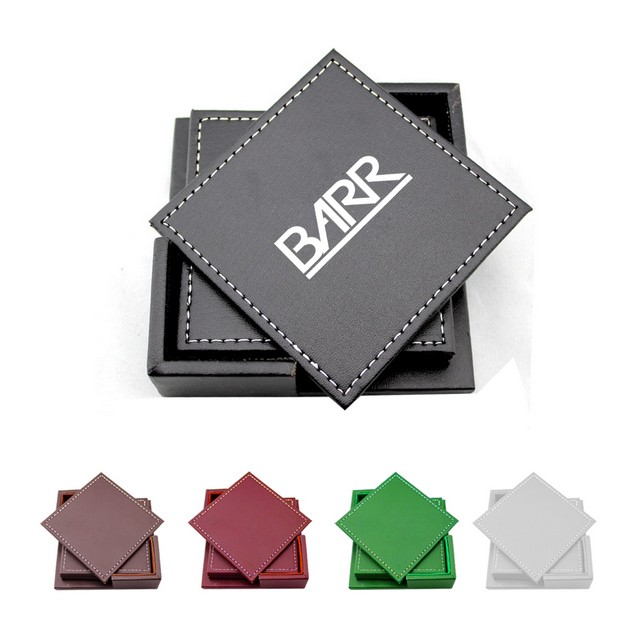 PU Leather Coasters with Holder - 4 Inch Faux Leather Coasters with Box