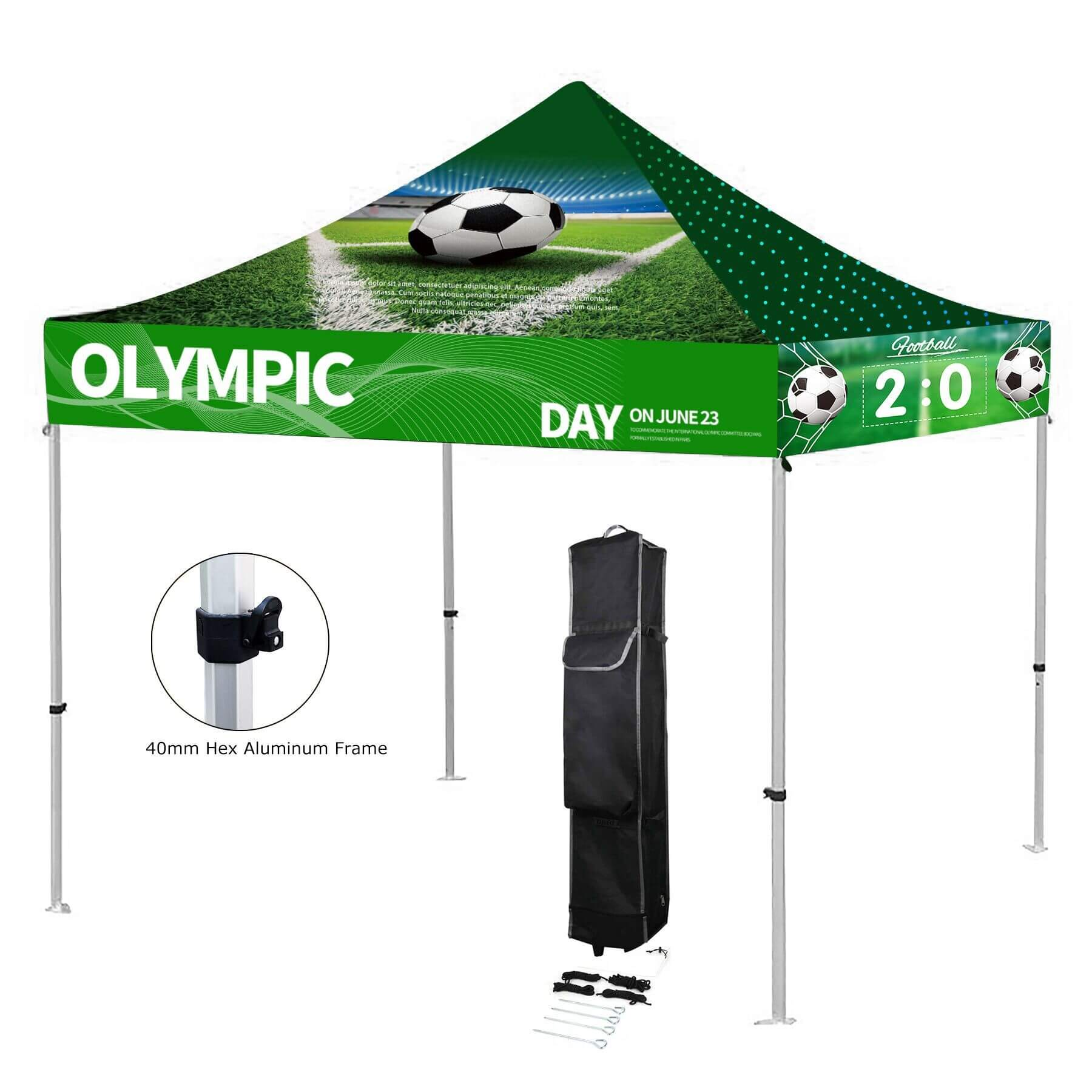 10' x 10' Custom Printed Pop up Tent Kit w/ Aluminum Frame - 10' x 10' Premium Aluminum Canopy Tent Kit ( Dye Sublimation)