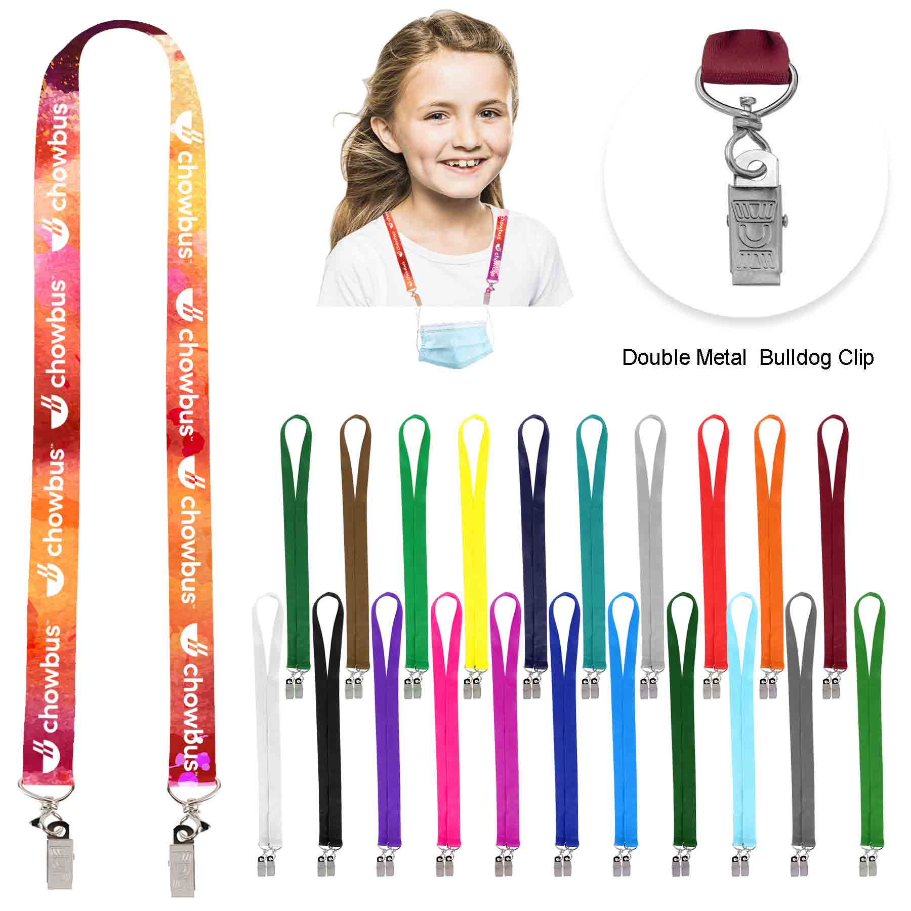 "3/4"" Youth Size Full Color Face Mask Lanyard/Double Bulldog Clip - 3/4"" Youth Size Full Color Face Mask Lanyard/Double Bulldog Clip"