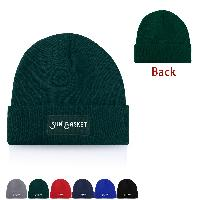 Classic Beanie With Cuff And Knit Patch - Classic Beanie With Cuff And Knit Patch